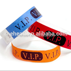 Custom Waterproof Paper Bracelet Tyvek Wristband with VIP Logo Printing