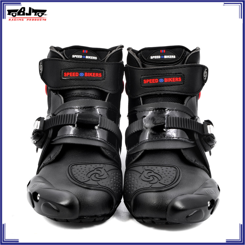 BJ Global professional motorcycle boots motorbike racing boots waterproof biker protect ankle moto shoes Size 40-45 black