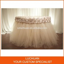 Fancy Decorative Wedding Rosette and Tulle Tulle Table Skirt