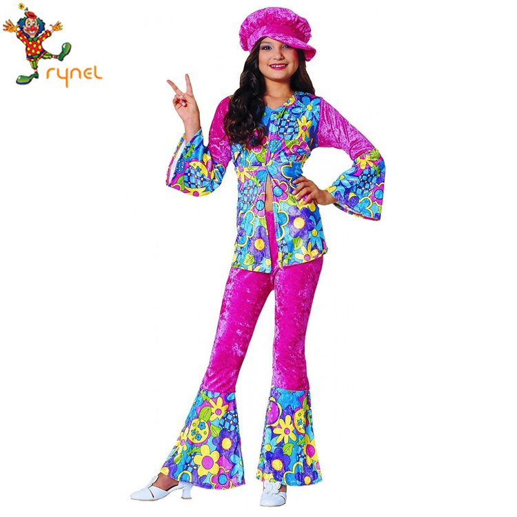PGCC5632 Custom Kids 60 s 70 s Halloween Fancy Dress Kids Hippie Meisje Kostuum