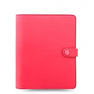 Filofax The Original A5 Size Leather Organizer Agenda Ring Binder Calendar with DiLoro Jot Pad Refills Coral 022599