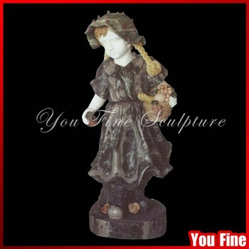 Natural Marble Stone Little Girl Garden Statues