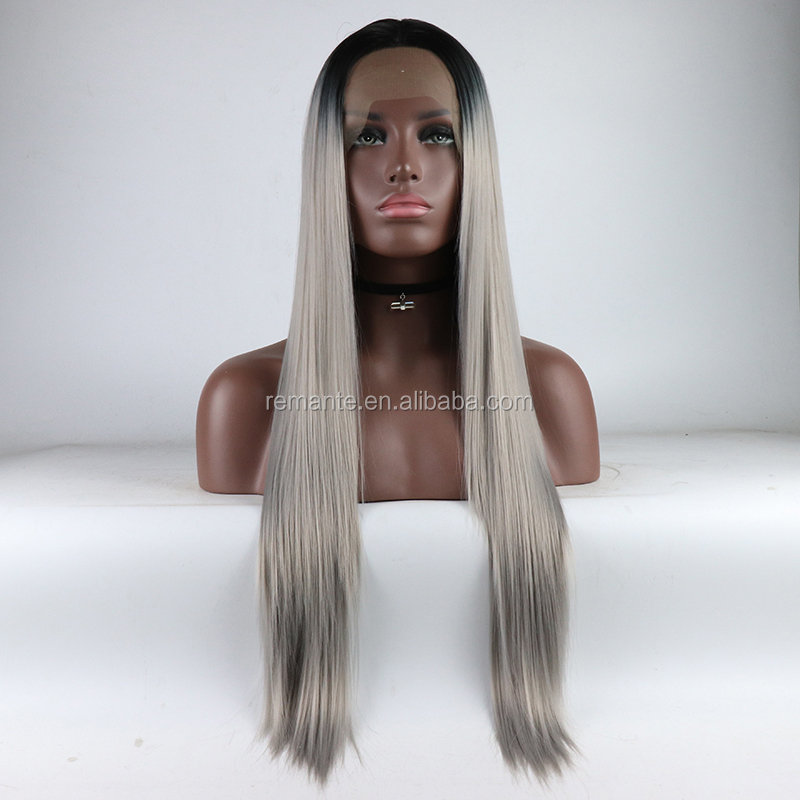 2019 Fashion 옴 브레의 color black gray hair lace wig synthetic hair wig