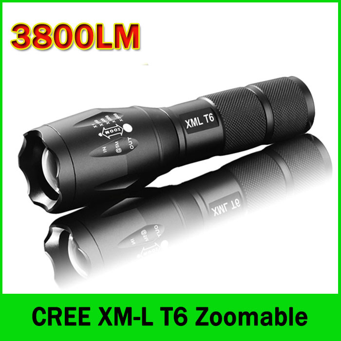 LED Flashlight 3800 Lumens Tactical Flashlight CREE XM-L T6 LED Torch Zoomable