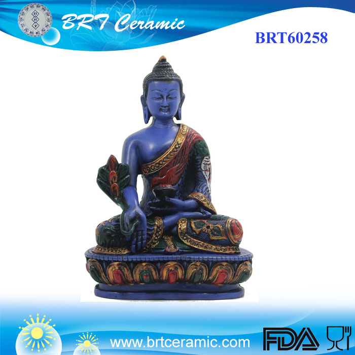Resin Medicine Buddha Meditating Blue Statue for Peace and Relaxation