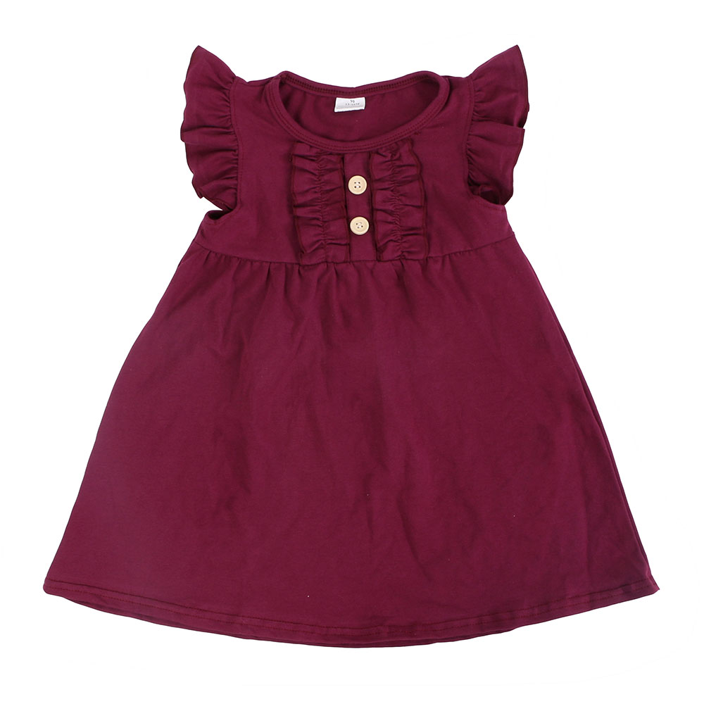 Wholesale boutique <strong>baby</strong> <strong>cotton</strong> <strong>frocks</strong> designs flutter sleeve kids beautiful model dresses
