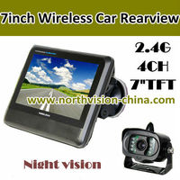 CR-006 2.4GHZ wireless reversing rearview car camera with 7 inch monitor, support 4 waterproof camera, night vision