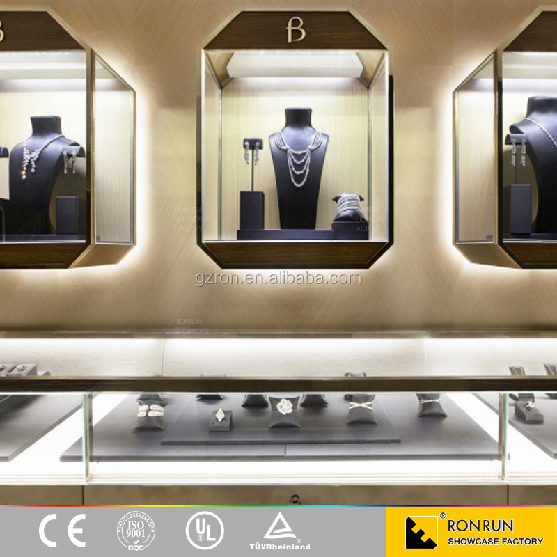Fashionable jewelry store decoration display furniture ultra clear tempered glass wall display cabinet