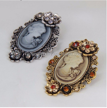 c9725c629a7 Fashion Antique Gold Silver Vintage Brooch Pins Female Brand Jewelry Queen  Cameo Brooches Rhinestone For Women