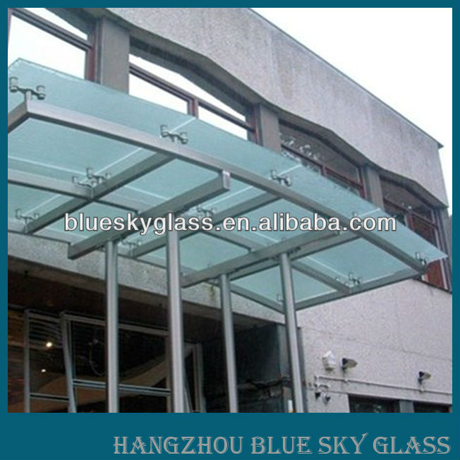 LT 5mm 6mm 8mm 10mm curved frosted tempered glass canopy for entrance with CE AS certificates