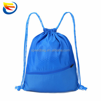High quality taobao logo printed drawstring bag with front zipper pocket
