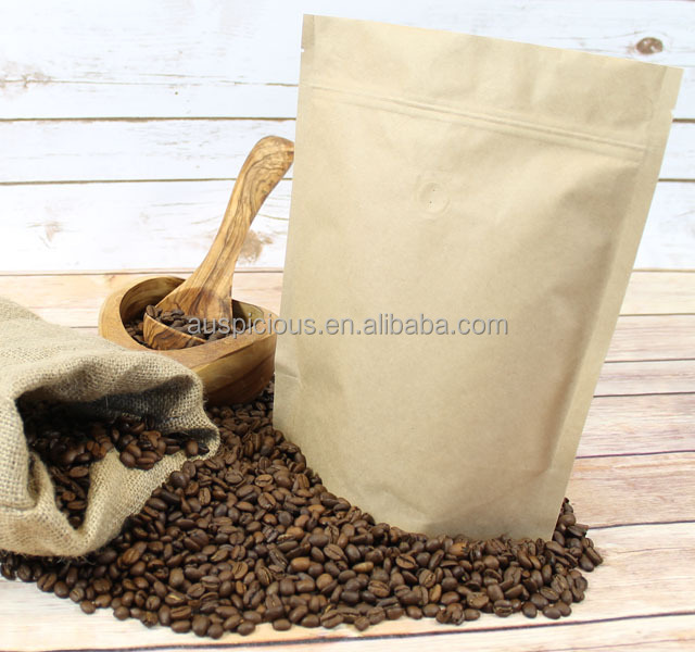 kraft paper coffee bags with valve/coffee bags custom printed/empty coffee bags