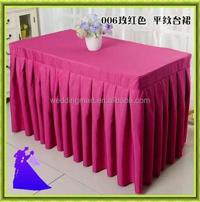 factory price with best service rectangle polyester table skirt