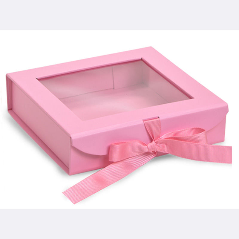 custom packaging box gift paper box clear lid satin lined gift boxes packaging