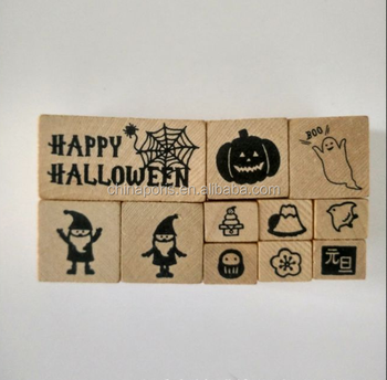 New styles children Hallowmas 'day wood stamp set with good quality