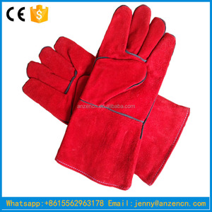 Red Cowhide Welding Leather Gloves with Lining &Reinforcement on the palm with extra apron