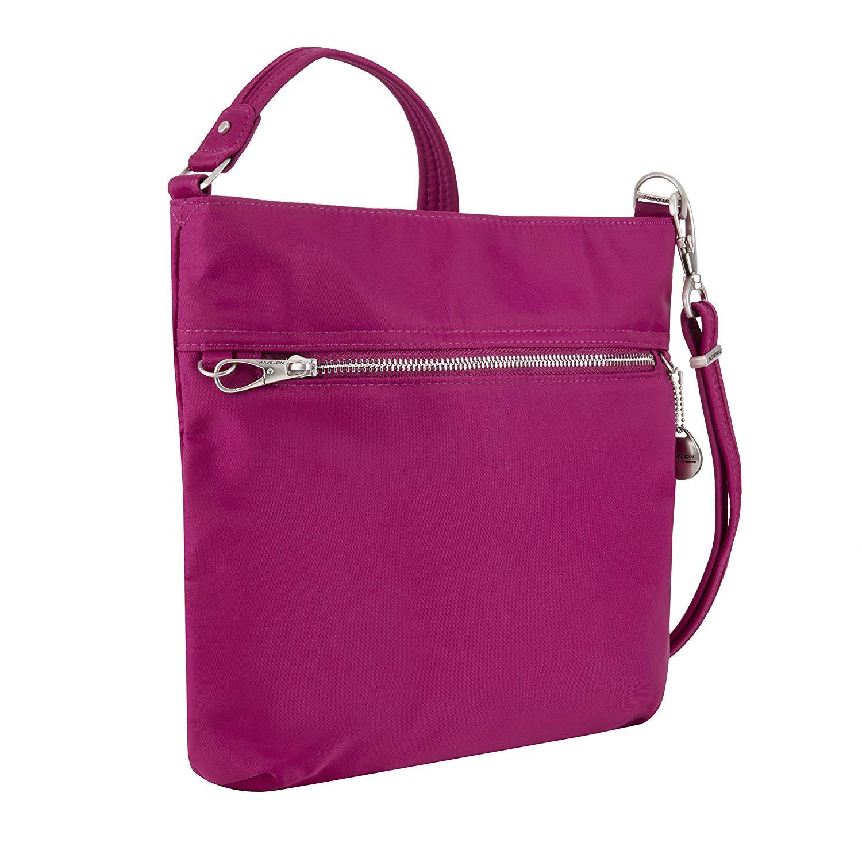Travelon Women's Anti-theft Tailored N/S Slim Cross Body Bag, Plumrose