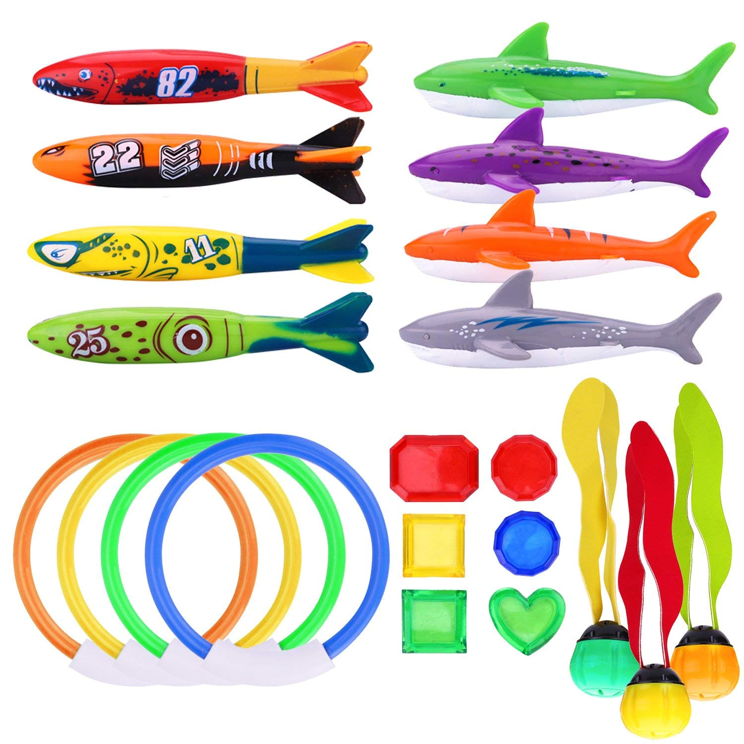 R.HORSE 21 PCS Underwater Swimming/Diving Pool Toy Set, Diving Rings, Toypedo Bandits, Diving Toy Balls, Under Water Treasures Gift, Diving Shark Toy, Dive Gift for Children Kids