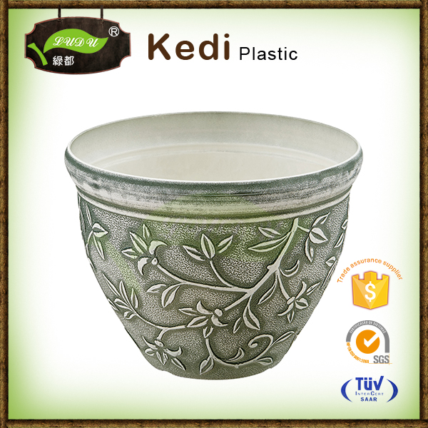 Wholesale garden small square shaped ceramic decorative indoor pp plastic planters outdoor furniture led flower pot