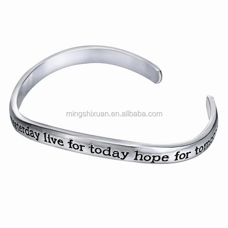 Stainless Live for today, hope for tomorrow, Encourage engraved letter custom bangle