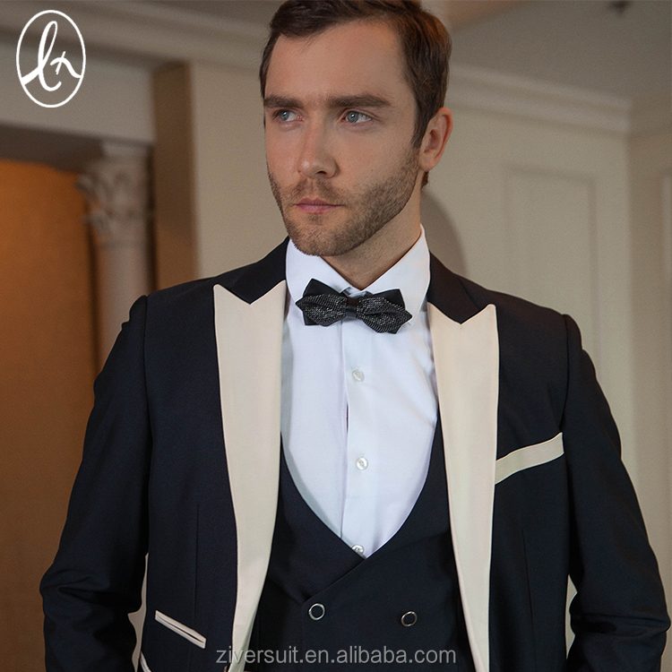 In stock tailor made 3 pieces 100% wool slim men tuxedo suit