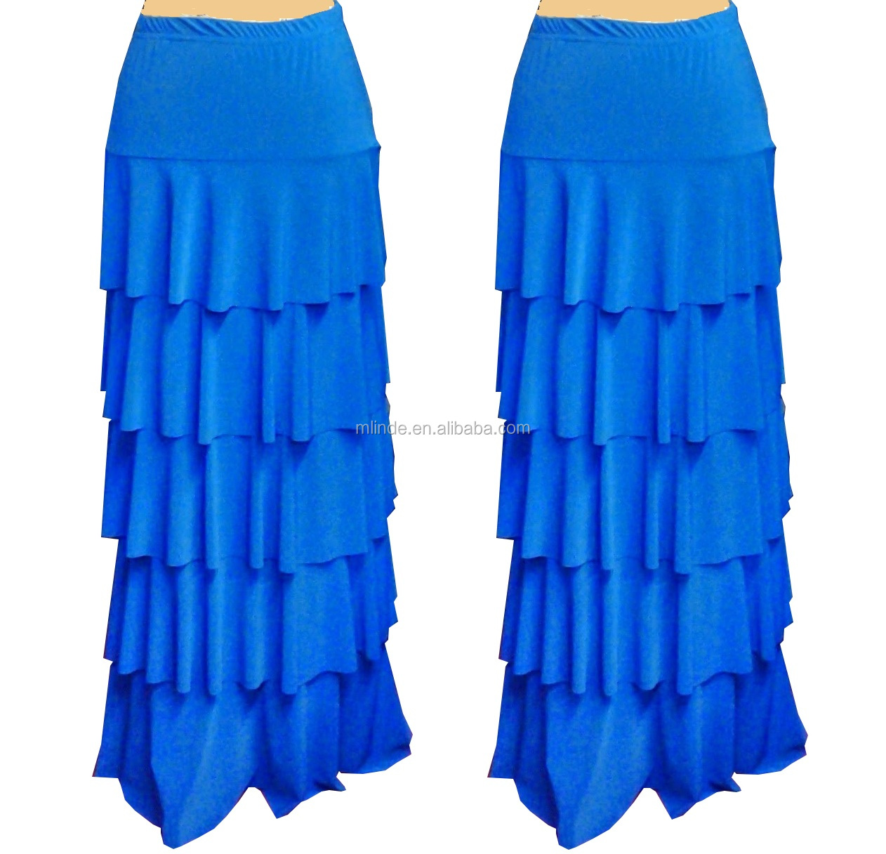 elegant women fashion maxi skirt / ladies ruffle tiered layer long skirt manufacture