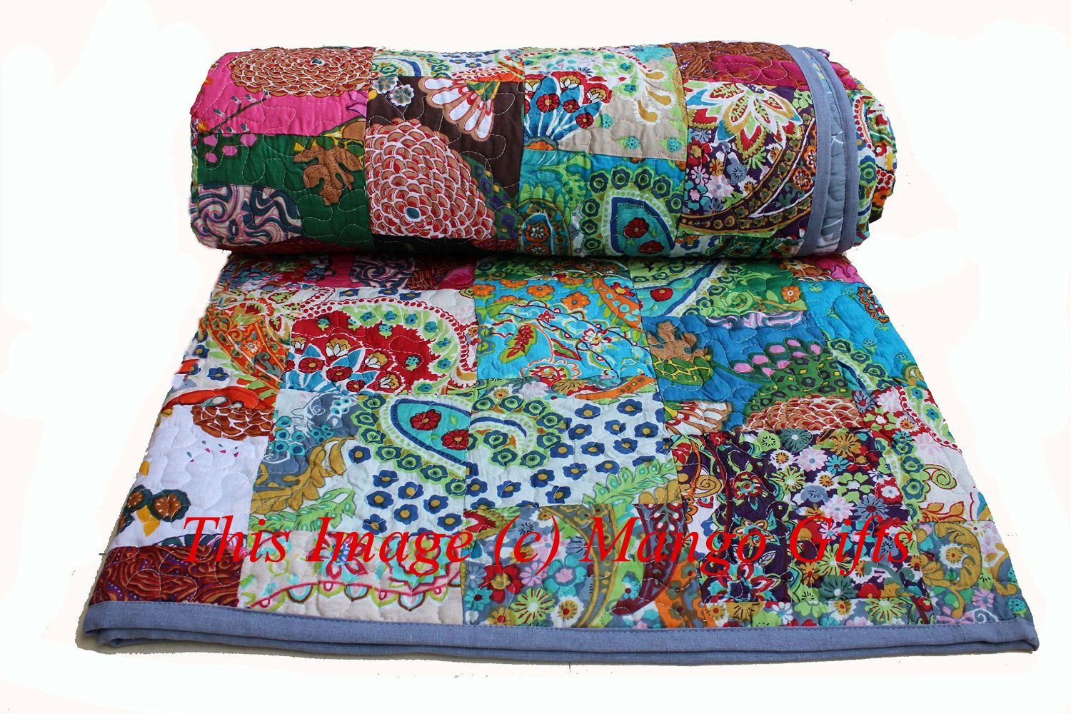 "Indian Quilt Pure Cotton Premium Gudri (Quilt), Floral Print, King Size, Patch Work Quilt, King Size Bedspread 90"" X 110"" King Size By Mango Gifts"
