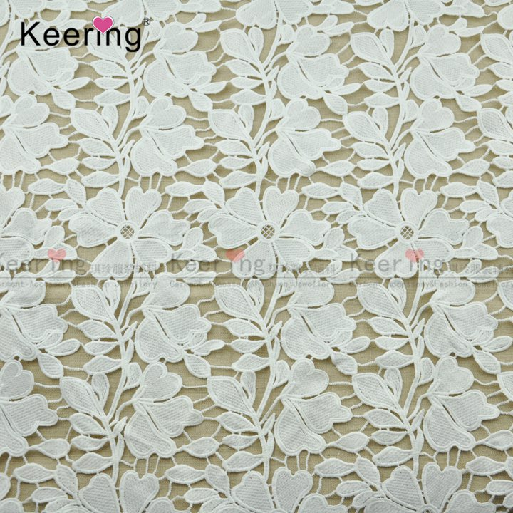 High Quality Flower Design White Guipure Lace Fabric WLC-422