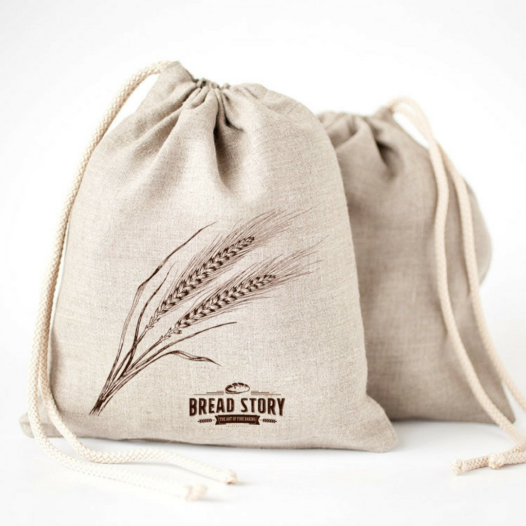 """Natural Linen Bread Bags - 2-Pack 11 x 15"""" Ideal for Homemade Bread, Unbleached, Reusable Food Storage, Housewarming, Wedding Gift, Storage for Artisan Bread - Bakery & Baguette"""