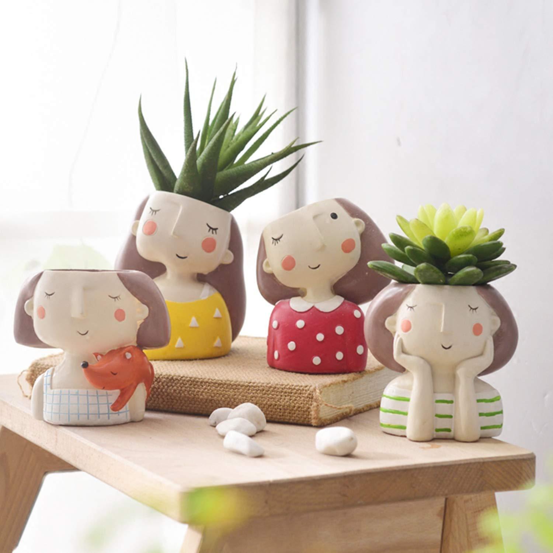 Flower Girl Planter Set - 4pcs European Style Succulent Plants Planter Pot Mini Bonsai Cactus Flower Pot Home Decor Craft