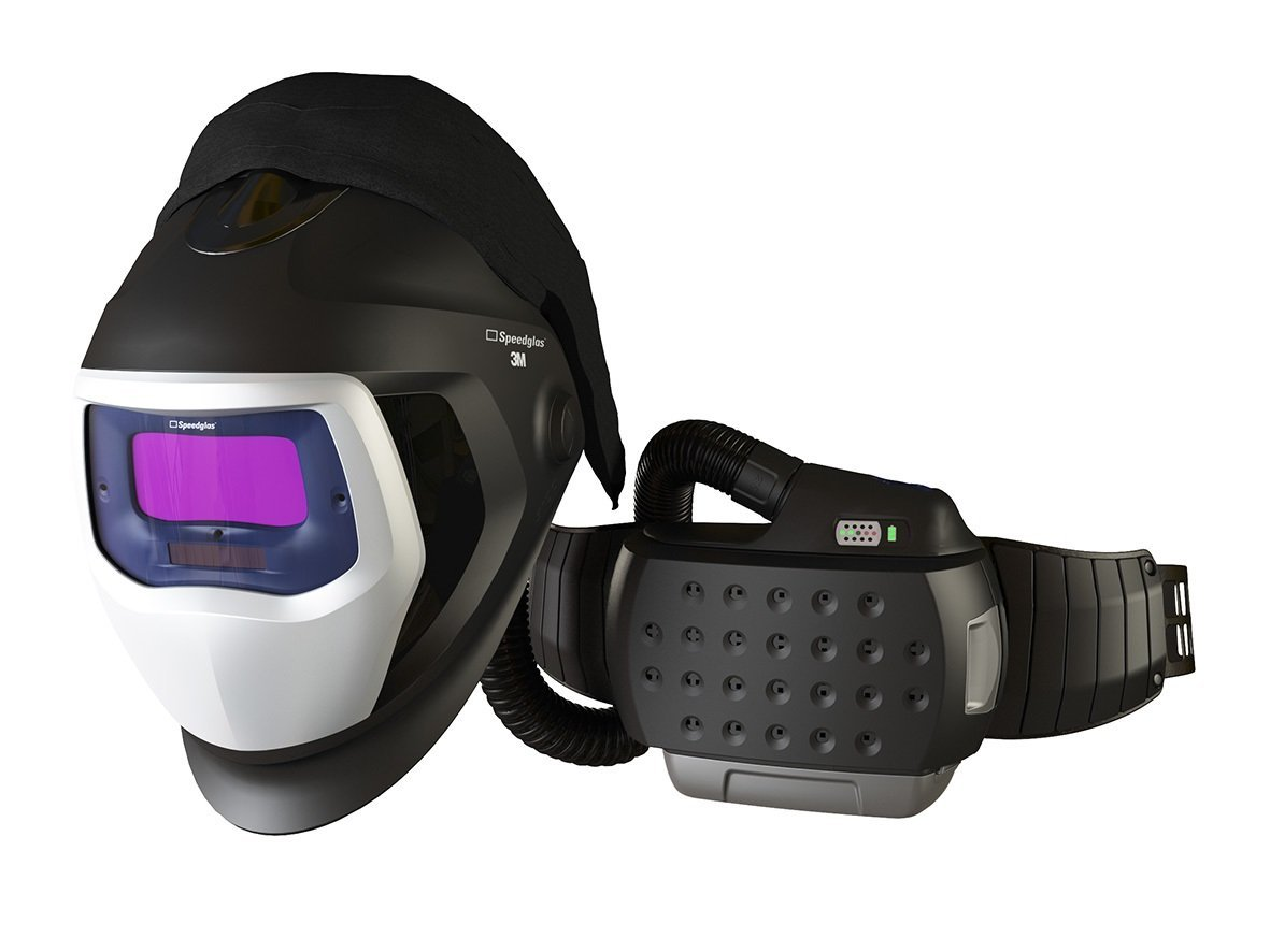 3M 35-3301-30SW Powered Air Purifying Respirator Organic Vapor/Acid Gas and High Efficiency System with 3M Speedglas Welding Helmet 9100-Air, Lithium Ion Battery, Side Windows and Auto-Darkening Filter 9100XX, Shades 5, 8-13