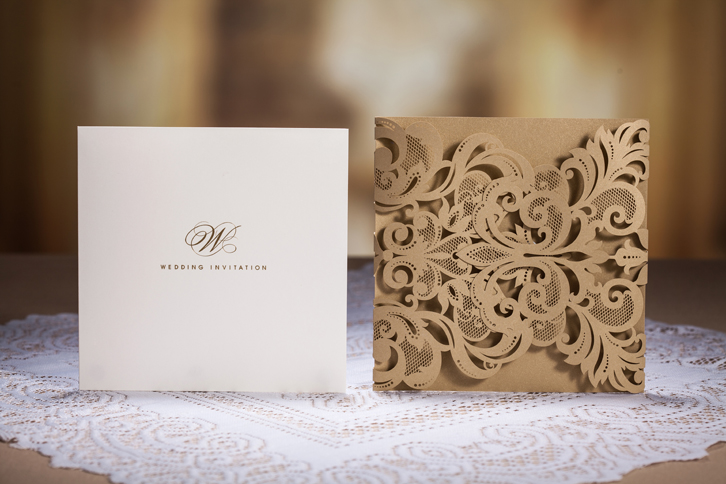 Whosale wedding / birthday laser cut wedding invitation card