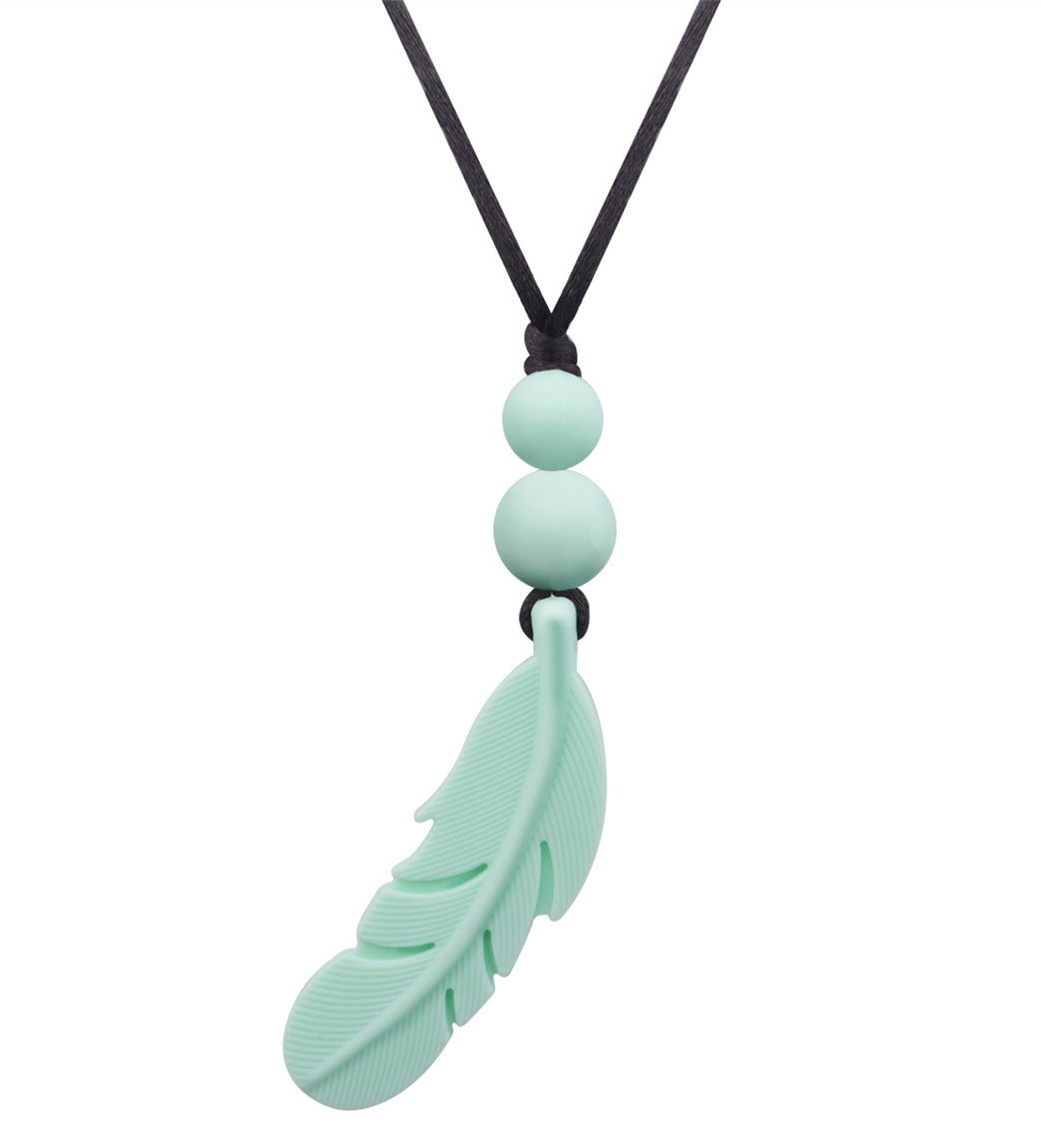 Designer Silicone Beads Feather Pendant Necklace for Female,Baby Teething Pain Relief Teether Toys,100% BPA Free,15 Inches,Mint (Green)