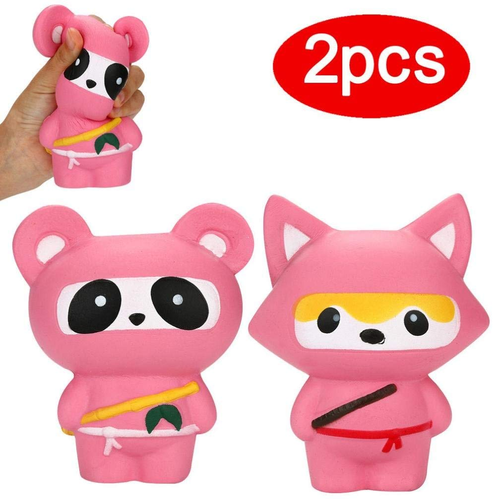 Staron® Squishies Toys for Girls, 2 Pack Squishies Panda Fox Slow Rising Jumbo Squishy Toys Kawaii Cute Animals Cream Scented Squishies for Kids Stress Reliever Girls Party Squishy Toys (2pcs)