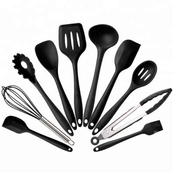 wholesale FDA LFGB food grade silicone kitchen utensil <strong>set</strong> with box accept logo 10 piece black red silicone kitchen utensil
