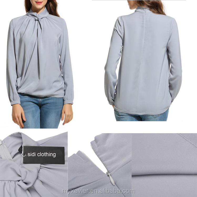 Women Knot Stand Collar Long Sleeve Solid Loose Blouse Top
