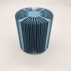 customer design sunflower heatsink with blue color anodized
