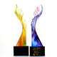 Custom engraved color crystal glass angel wings shape award trophy