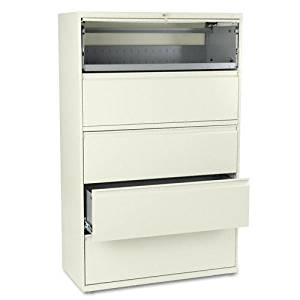 HON : 800 Series Five-Drawer Lateral File, Roll-Out/Posting Shelves, 42w x 67h, Putty -:- Sold as 2 Packs of - 1 - / - Total of 2 Each
