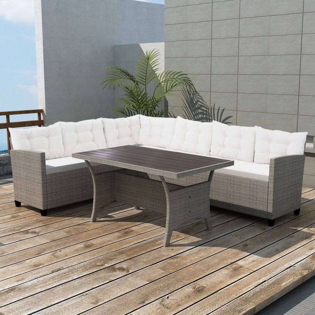Get Quotations · Garden Corner Sofa Set 12 Pieces Poly Rattan Gray Sofa Set  Strong And Sturdy But Also