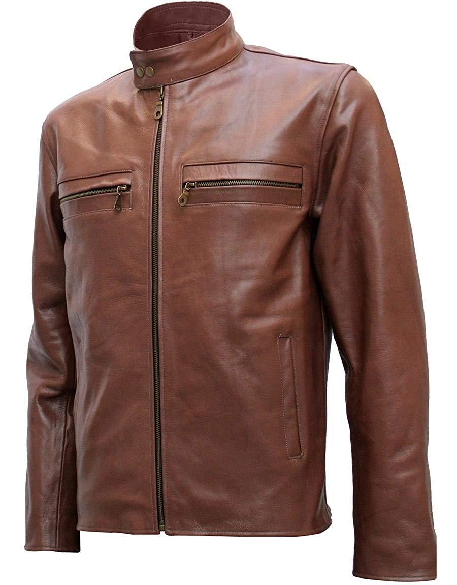 Xport Designs Real Leather 2XL Unique Brown Jacket Men
