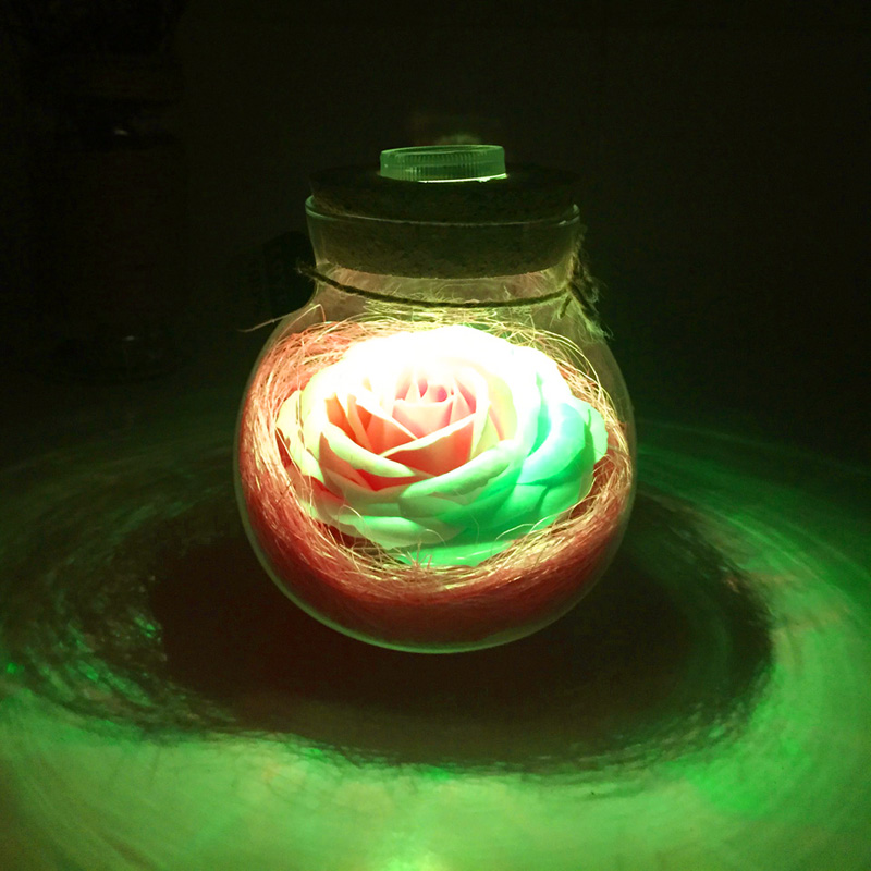 Led Romantic Rose Flower Night Light Lucky Bottle RGB Dimmer Lamp With 16 Color Remote Holiday Gift For Lover Girl Bedroom Decor (17)