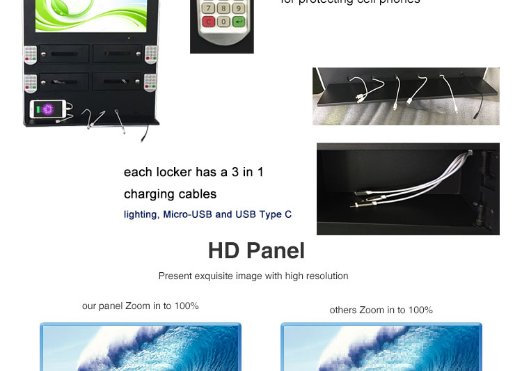 Wall Mounted Mobile Phone Charging Station with 21.5'' AD Screen