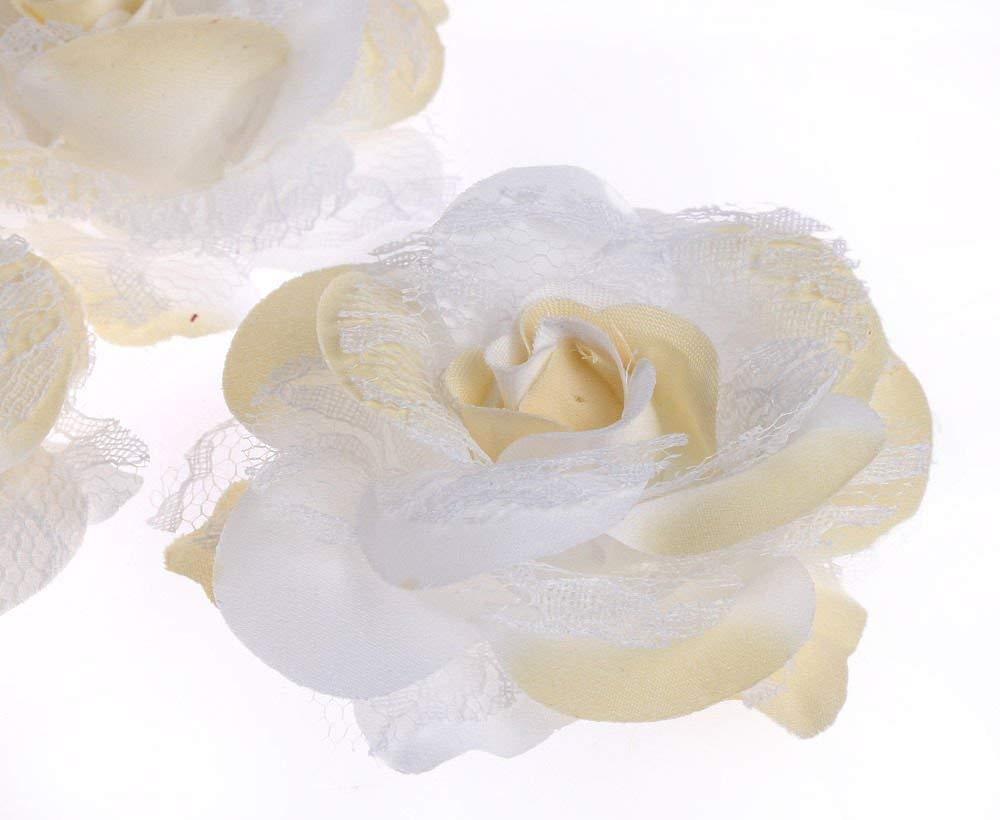CraftbuddyUS 10 x 75mm 3D Vintage CREAM/YELLOW Two Tone Lace & Fabric Rose Flowers Wedding Decoration
