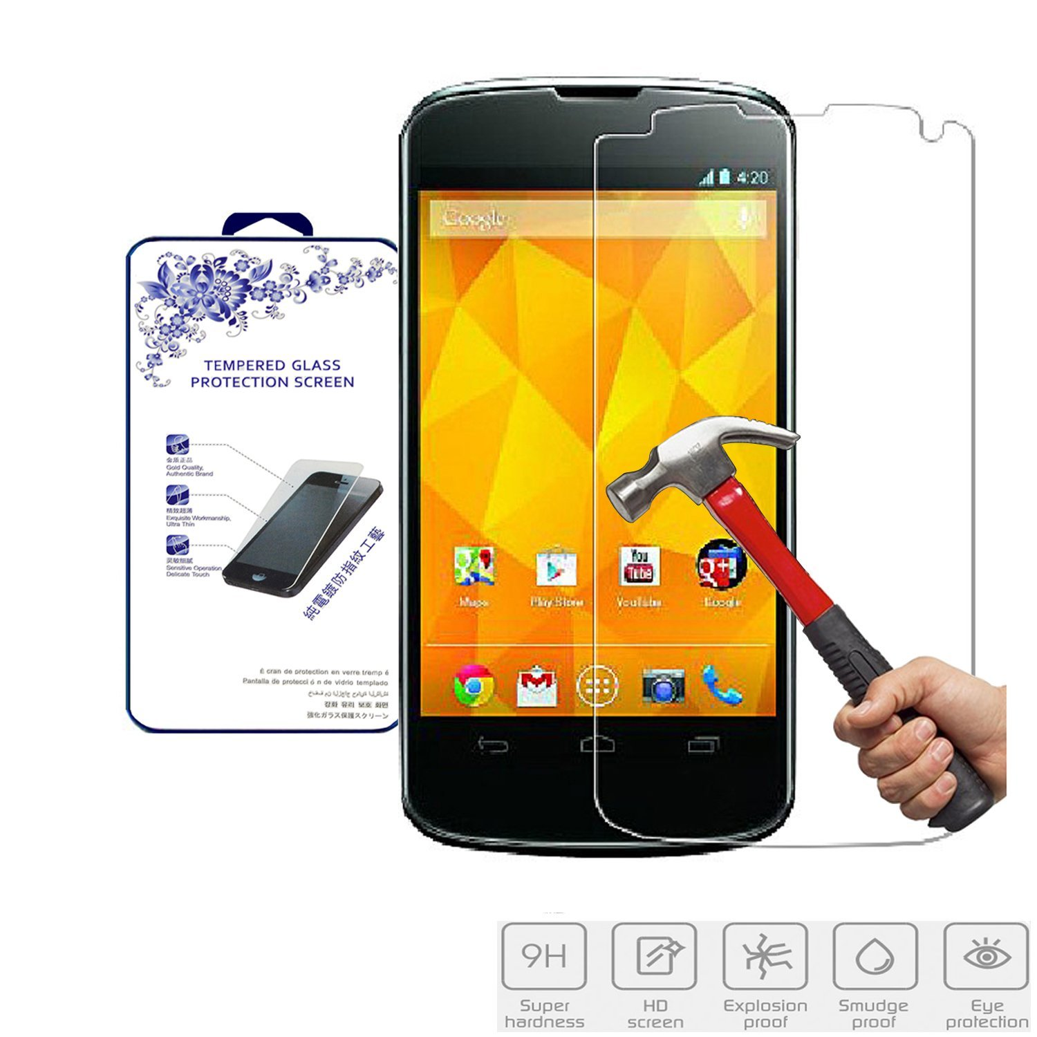 Nacodex® Hd Tempered Glass Screen Protector for Lg Google Nexus 4 E960 At&t T-mobile [9h Hardness✔] [Real Explosion-proof✔] [0.3mm Thin✔] [Original✔] [Simple Retail Box✔] [ Fast Shipping✔][ Hd✔] [ W/tracking No. ✔] [ Package with Bubble Air Column ✔]