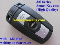 new uncut B car 3/5-Series Smart Key remote fob case shell (High Quality, 433 mhz writing on rear cover)