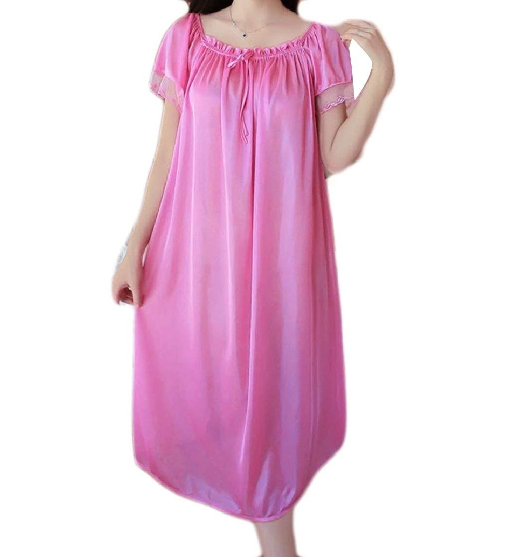 Get Quotations · Yayun Women Sexy Lace Plus Size Ice Silk Summer Nightgown  Nightwear Sleepwear d52019435