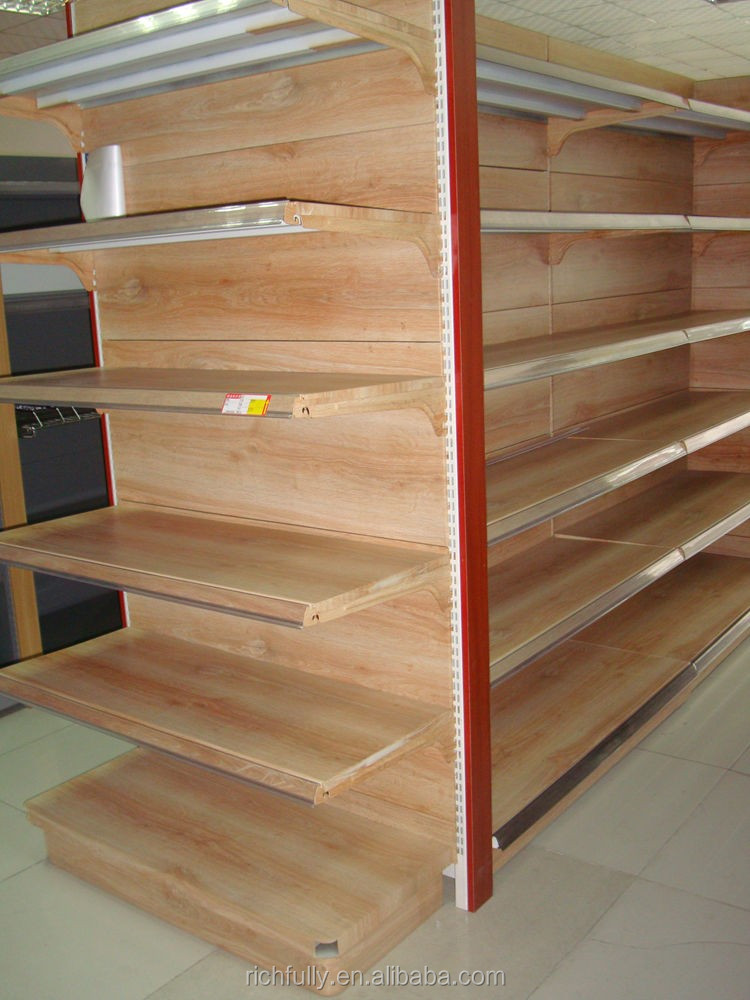 2016 New Style Wood Color Steel Gondola Shelving