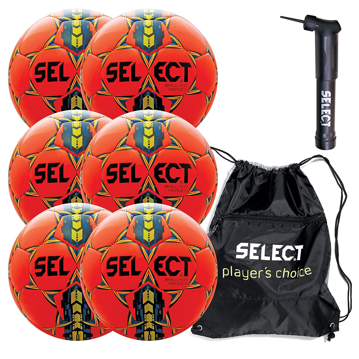 Select Brilliant Super Replica Soccer Ball with Sack Pack & Hand Pump (Pack of 6)