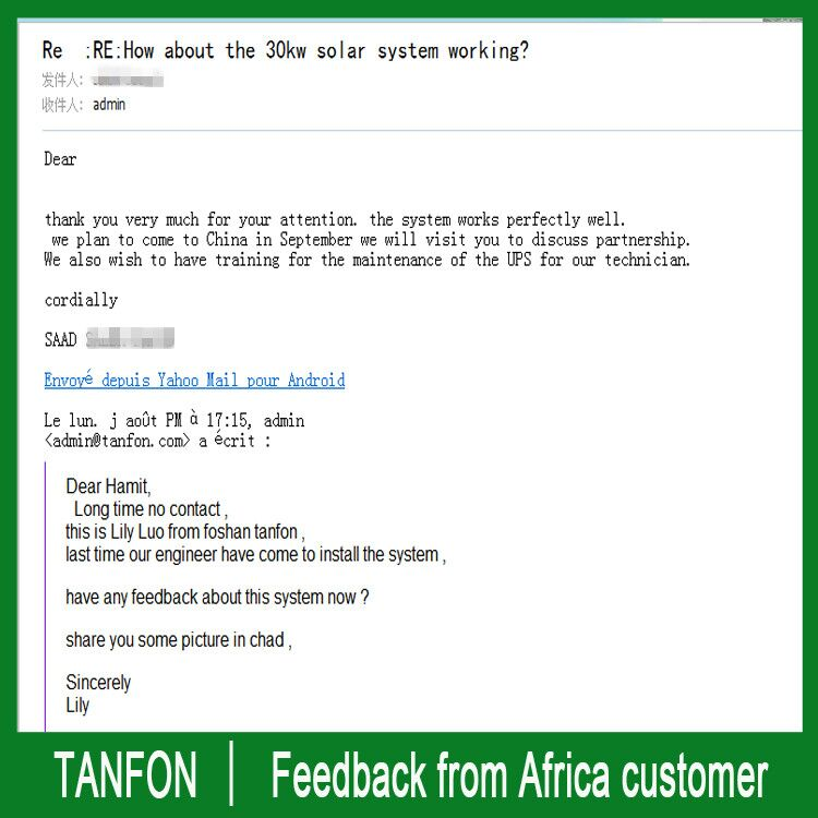 Feedback from client in Chad